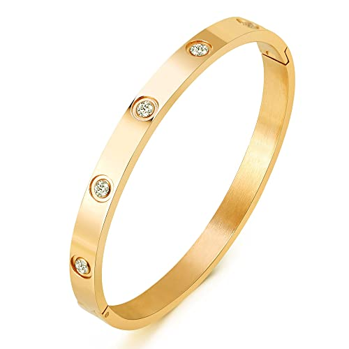 2e8907d70 MVCOLEDY Jewelry 18 K Gold Bangle Bracelet CZ Stone Hinged Stainless Steel  with Crystal Bangle for