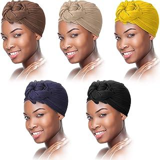 5 Pieces Head Wrap for Women African Hair Wrap Scarf Soft Turban Cotton Long Scarf Shawl Lightweight Wrap Head Scarves Bre...
