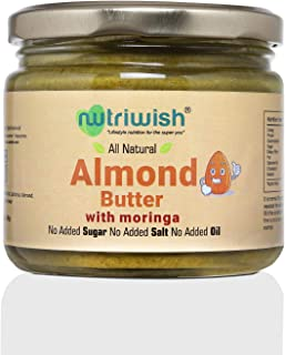 Nutriwish Almond Butter with Moringa Bottle, 250 g - Unsweetened, No Added Oil, No Added Sugar, No Added Salt, 100% Natural