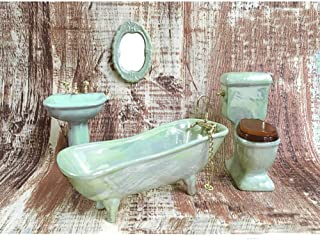 BESTLEE Dollhouse Furniture Miniature Bathroom Accessories Set 4PCS-1:12 Scale (Light Green)