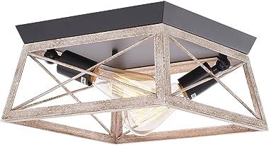 HMVPL Close to Ceiling Light, Farmhouse Flush Mount Lighting Fixtures Industrial Ceiling Lamp 2-Light for Bedroom Kitchen Isl