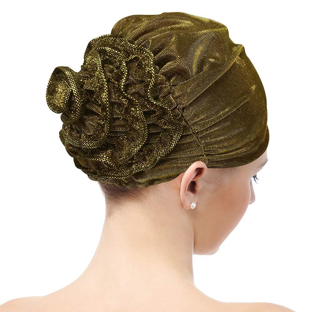 Flower Cap Chemo Turban Thick Shiny Stretchy Head Scarf Headwrap Beanie (Gold)