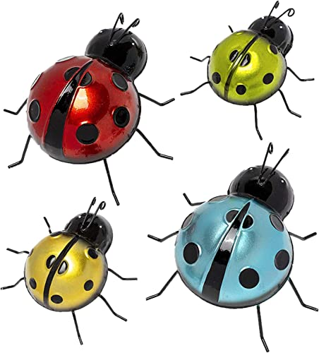 Metal Ladybugs Garden Wall Art Decor Cute Handmade Ladybugs for Garden Lawn Porch Outdoor Decoration Ornaments Easy Hanging Yard Wall Ornament Set of 4 Outdoor Wall Decor