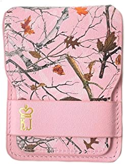 Pink Camo Leather Wallet for Women, Minimalist Leather Wallet and Card Organizer, Small Bifold Compact Credit Card Case Wo...