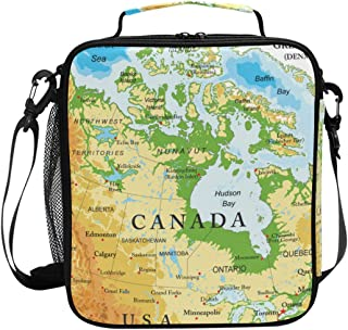 ADONINELP Lunch Bag Square Physical Map Canada 3D Printed Picnic Bag Insulated Cooler Tote Box Meal Holder Containers Lunchbox Case