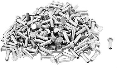 sourcing map 25 pz M6 x 18mm alluminio testa piatta rivetti Semi-Tubolare tono argento