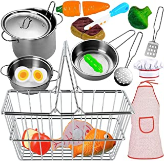 FUNERICA Stainless-Steel Kitchen and Shopping Set - Grocery Shopping Basket with Cutting Food - Cooking Set with Play Pots and Pans with Toy Kitchen Utensils for Kids, Girls, Boys, Toddlers