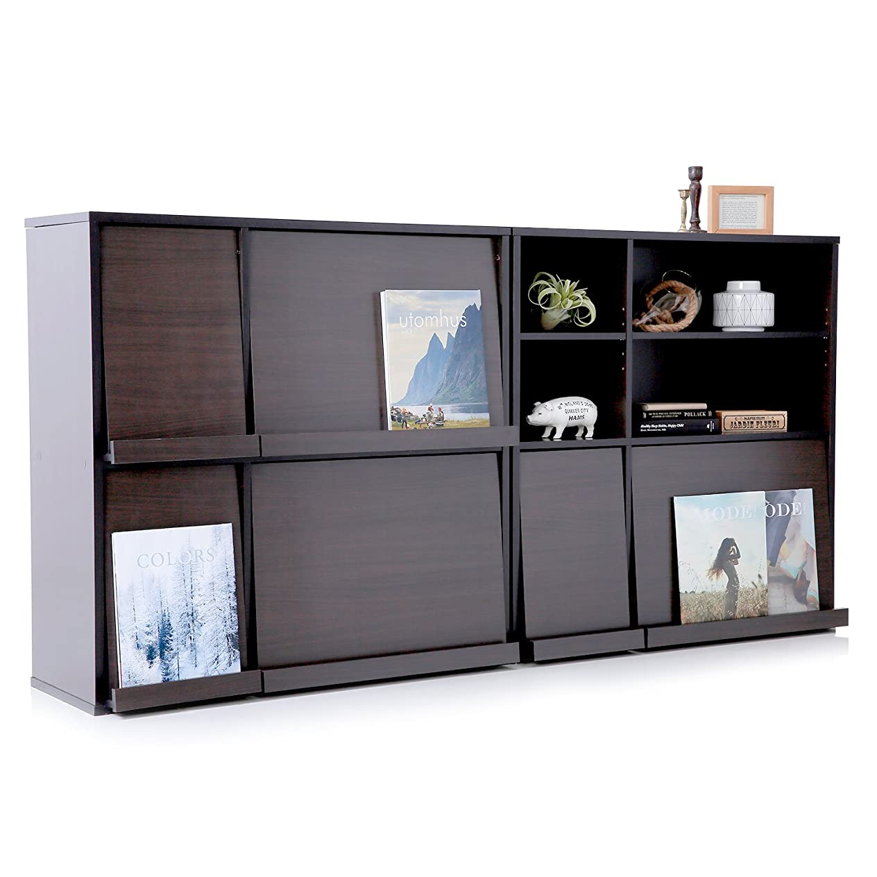 わなタオル糸LOWYA ラック 本棚 フラップ扉 木製 2個セット 収納 ブラウン おしゃれ 新生活