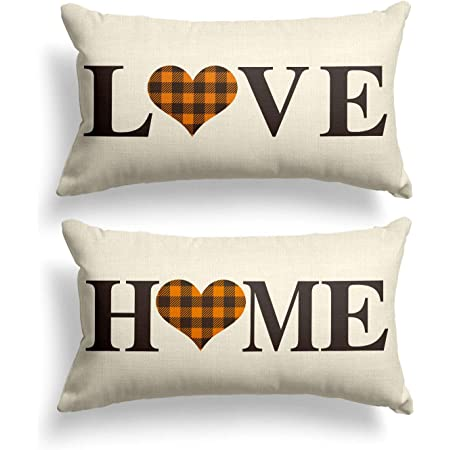 Amazon Com Avoin Set Of 2 Buffalo Check Plaid Love Heart Home Throw Pillow Cover 12 X 20 Inch Brown And Black Holiday Fall Thanksgiving Farmhouse Cushion Case For Sofa Couch Home Kitchen