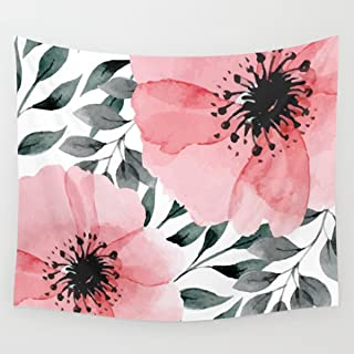 Shukqueen Tapestry,Watercolor Pink Dahlia Flower Wall Hanging Tapestry Dorm Decor (51