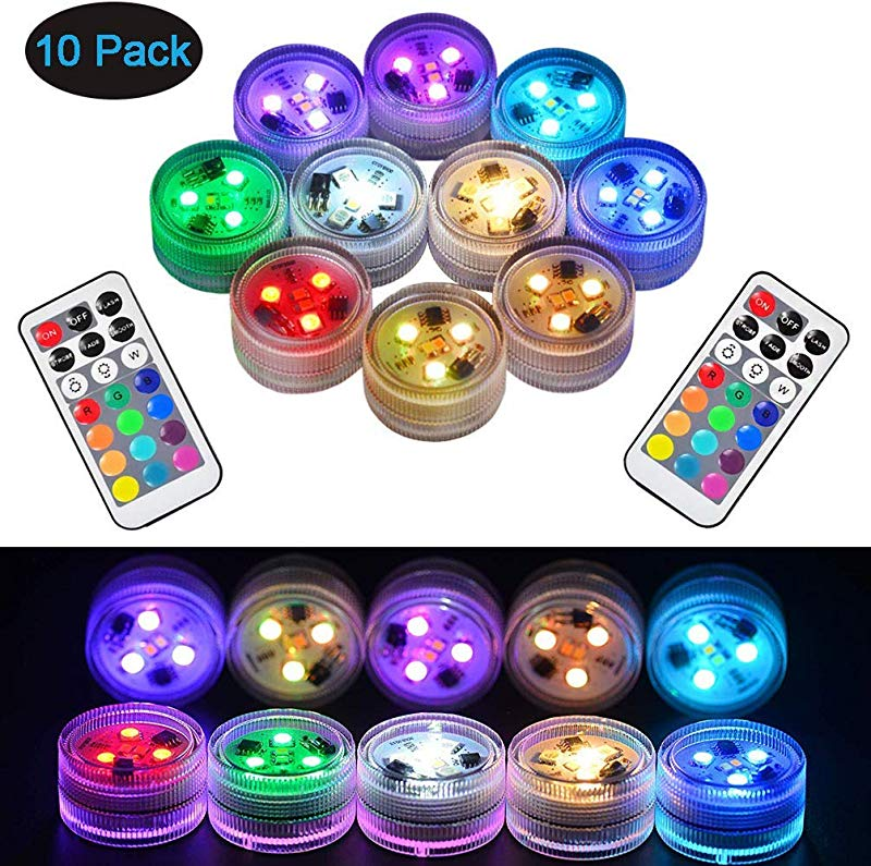 10Pcs Remote Submersible LED Lights Waterproof Tea Lights Underwater Lights Battery Powered Flameless LED Accent Light For Party Event Vase Fishtank Halloween Christmas Wedding