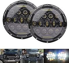 LEDMIRCY 7inch 75W LED Headlight for Jeep Wrangler JK CJ TJ LJ Harley Davision FJ Hummer H1 H2 LED Projector Driving Lamps-White Hi/Lo Beam(Pack of 2,Amber DRL)