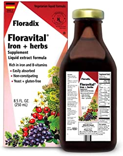 Floravital Liquid Iron Supplement + Herbs 8.5 Ounce - Vegan, Non GMO & Gluten Free - Non Constipating, Yeast Free for Men ...