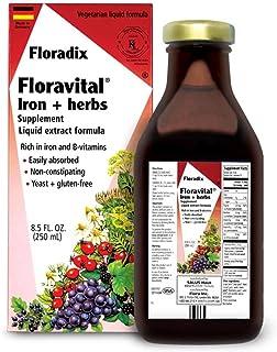 Floravital Liquid Iron Supplement + Herbs 8.5 Ounce - Vegan, Non GMO & Gluten Free - Non Constipating, Yeast Free for Men & Women
