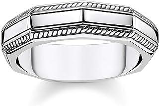 Thomas Sabo Unisex Ring Angular Silver 925 Sterling Silver, Blackened TR2276-637-21