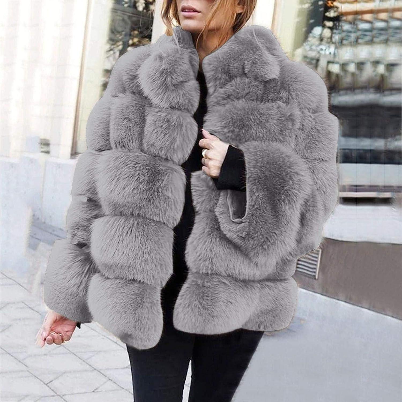 TICOOK Damen Warme Kunstpelz Plüsch Mantel Langarm Kurze Outwear Plus Size Jacke Grau