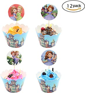 Cupcake Toppers Wrappers Birthday Party Supplies,Cake Decoration Baby Shower for for Kids Birthday Party-Sofia the First Set of 12
