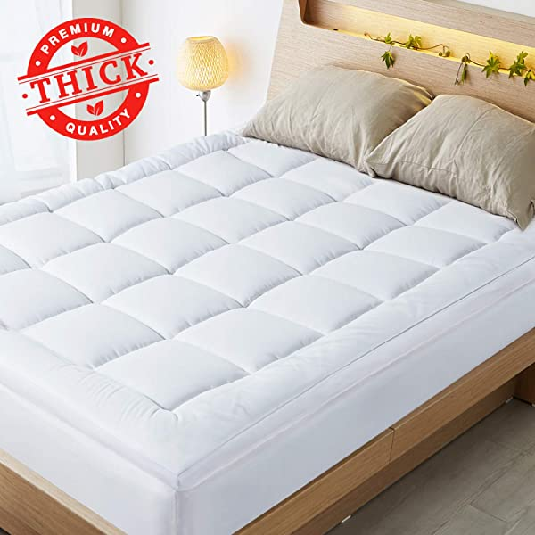 HOMKUU Extra Thick Mattress Topper Plush Overfilled Down Alternative Filling Mattress Pad Breathable Hypoallergenic Pillow Top 2 Inch Queen Size