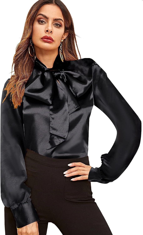 SheIn Women's Lantern Long Sleeve Bow Tie Neck Button Up Work Blouses Shirt Top