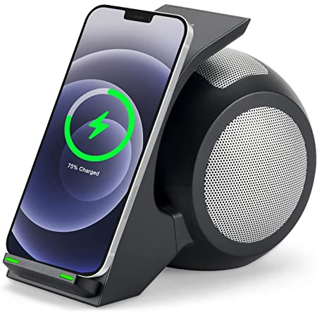 Fast Wireless Charger with Bluetooth Speaker,CENSHI Wireless Charging Stand for iPhone12,12Mini,12Por Max,11,11Pro,11Pro Max, Xs,XS Max,XR, X,8,8Plus,Galaxy S21 Ultra,S20,S10,S9,Note20,10,9 and More.