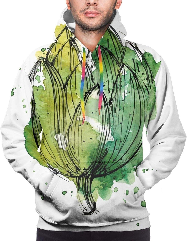 TENJONE Men's Hoodies Sweatshirts,Abstract Stripy Pattern with Grunge Effect Folkloric Rustic Design Print