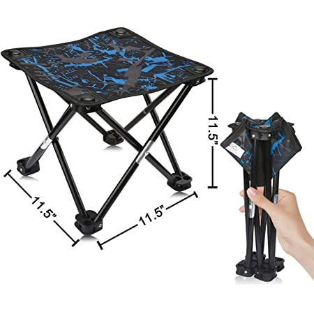 ALIXIN-Lightweight Portable Outdoor Folding Chair Stools,Slacker Black Foldable Stool,Aluminum Oxford Seat Outdoor for Camping Travel Chair Fishing Hiking Garden Picnic BBQ Beach Seat Stool.