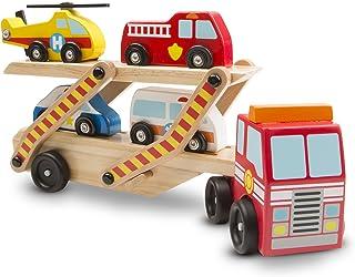 Melissa & Doug- Cars & Trucks Juguete Portavehículos de Emergencia, 3+ Años, Multicolor (14610)