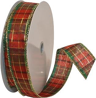 Morex Ribbon Splendor Wired Plaid Fabric Ribbon, 1-1/2-Inch by 50-Yard Spool, Red
