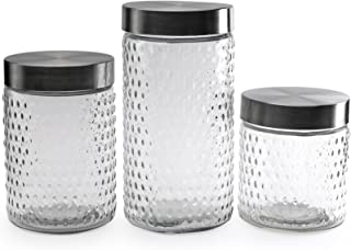 Circleware 68220 Hobnail Glass Canisters with Metal Lids, Set of 3 Kitchen Glassware Food Preserving Container for Coffee, Sugar, Tea, Spices, Cereal, Farmhouse Decor, 84 oz, 44 oz, 32 oz, Clear