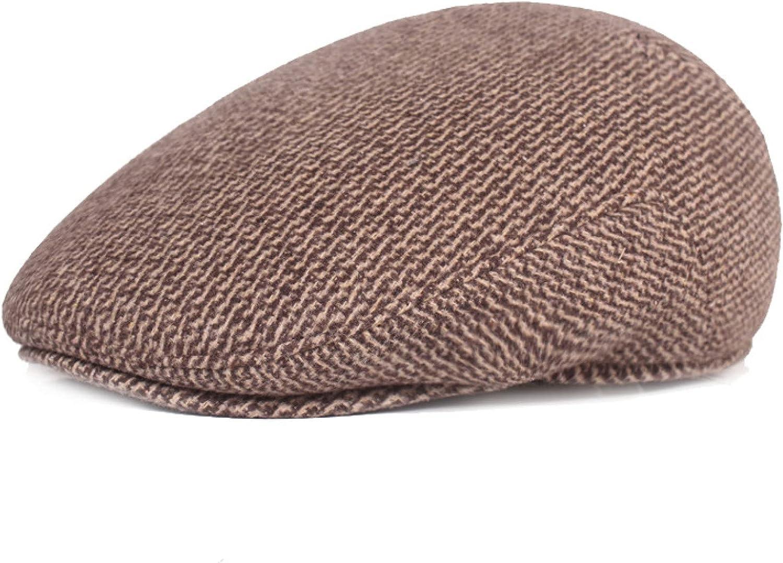 Male Winter Thick Casual Newsboy Caps Retro Beret France Flat Cap Herringbone Fashion Peaked Cap Pure Color