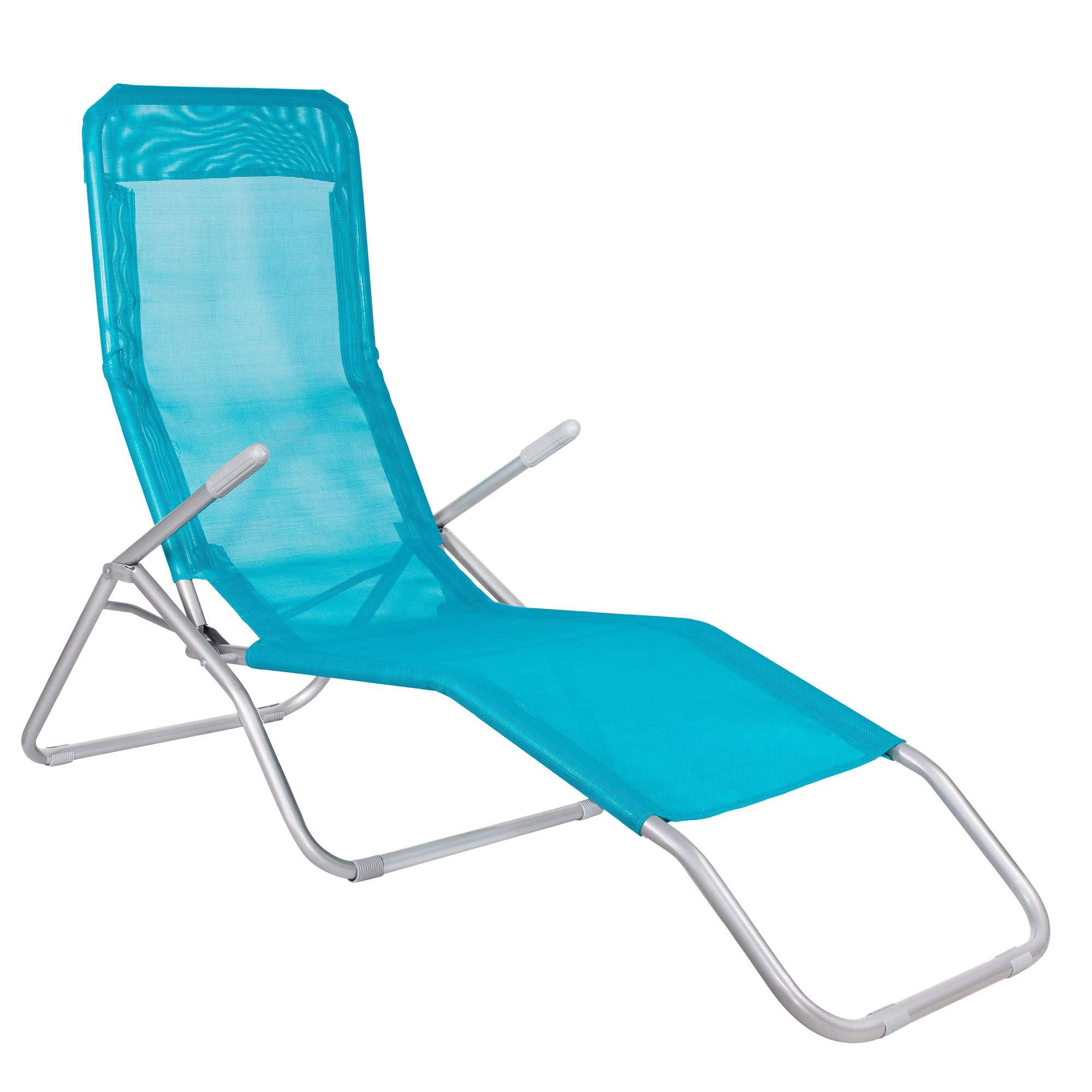 VERDELOOK Lettino Riccione da Spiaggia 94x58x82 cm Blu