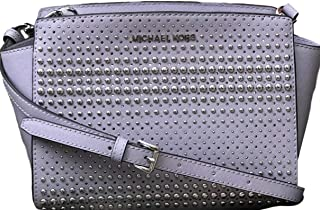 Michael Kors Selma Medium Messenger Leather Crossbody Bag Purple Size: Medium