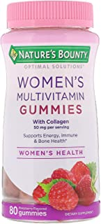 Nature's Bounty Optimal Solutions Women's Multivitamin Gummies 80 Count (Pack of 2) 50 mg of Collagen