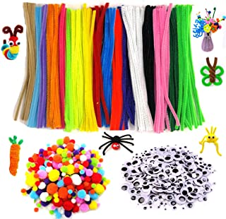 600pcs Pipe Cleaners Set DIY Party Favor Supplies (Including 200pcs Chenille Stems, 250pcs Pom Poms, 150pcs Wiggle Googly Eyes) Handmade Craft Decoration as Art Crafts Educational Toys for Kids