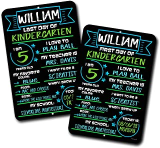 First and Last Day of School ( Set of 2 ) Blue and Green Chalkboard Style Photo Prop Tin Signs 12 x 18 inch - Reusable Easy Clean Back to School, Customizable with Liquid Chalk Markers (Not Included)