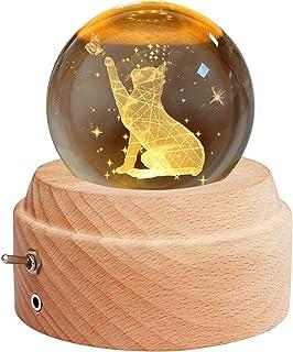 Yibaision 回転オルゴール クリスタル ボール 間接照明 LEDプロジェクターライト付き&高級感のある木製土台 ベッドサイドランプ ロマンチックな雰囲気 クリスマス/ 誕生日/結婚記念/卒業/出産祝いなどのお祝い お子さん・彼女天・文愛...
