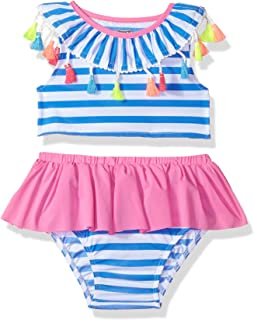 fogohill Baby Girls Tassel Stripe Two Piece Swimsuit Sleeveless Top Swim Briefs Bathing Suits