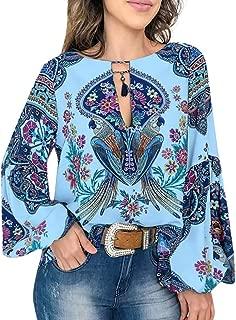 Blouse Fashion 2019,MOHOLL Women's Casual Boho Floral Print V Neck Long Lantern Sleeve Shirts Tops Loose Blouses