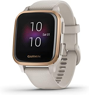 Garmin Venu Sq Music, GPS Smartwatch with Bright Touchscreen Display, Features Music and Up to 6 Days of Battery Life, Rose Gold with Tan Band