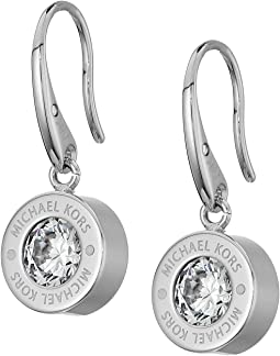 Michael Kors Cubic Zirconium Logo Drop Earrings