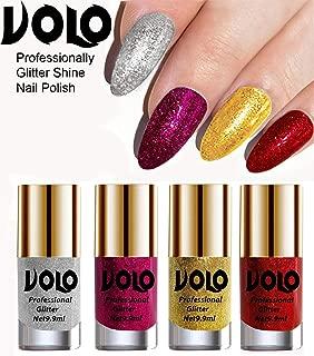 Volo Professionally Used Glitter Shine Nail Polish Combo Pack of 4(Silver Glitter, Magenta Glitter, Golden Glitter, Red Glitter)