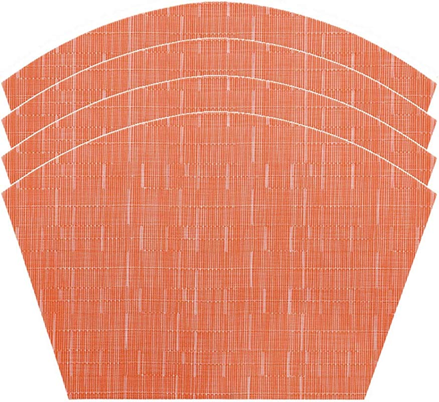 LivebyCare Wedge Durable Textilene Home Decoration Kitchen Dinner Placemats Washable Heat Insulation Place Mats 4 Pcs Anti Skid Table Mats 11 8X17 7 In Orange