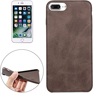 SHUANGRUIYUAN for iPhone 7 Plus Crazy Horse Texture Leather Surface Soft TPU Protective Back Case (Color : Brown)
