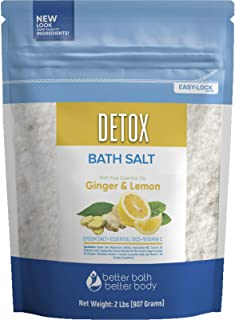 Detox Bath Salt 32 Ounces Epsom Salt with Natural Ginger and Lemon Essential Oils Plus Vitamin C in BPA Free Pouch with Ea...