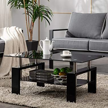 Rectangle Glass Coffee Table, 2-Tier Center Table Modern Black Side Coffee Table for Living Room Reception Room Office with L