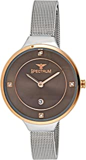 Spectrum Women's Grey Dial Stainless Steel Mesh Band Watch - 25159L-5