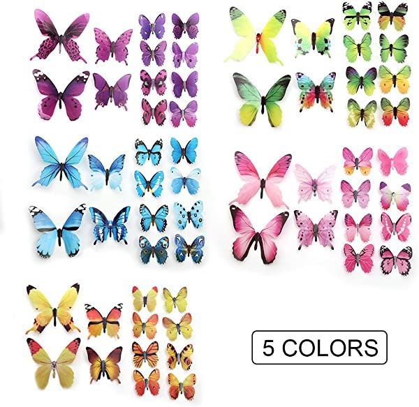 60 PCS Removable 3D Butterfly Wall Stickers Decals DIY Wall Art Decor Home Wall Decoration Sticker Mural For Kids Girls Children Bedroom Living Room Background Nursery 5 Colors Multi
