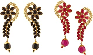 Indian Bollywood Jewelry 14K Gold Plated Crystal Pearl Floral Leaf Dangle Drop Big Jhumka Earrings Set of 2