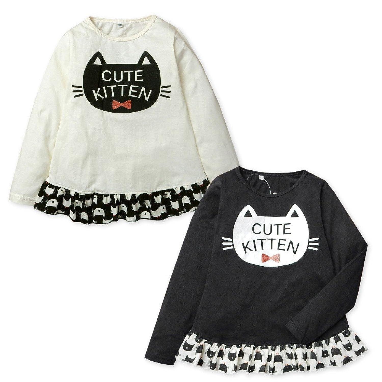 子供服 女の子 Tシャツ 長袖 綿100% リボン装飾 裾フリル ネコプリント お名前ネーム付き 女児 キッズ