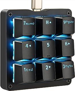 Koolertron片手マクロメカニカルキーボード 9キーフルプログラム可能ゲーミングキーボード カスタマイズ可能小型キーボード 青い LEDバックライト OSUに適用 (青軸ブラック青いライト)